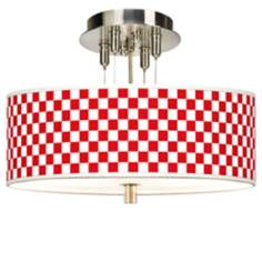 "Checkered Red Giclee 14"" Wide Ceiling Light"