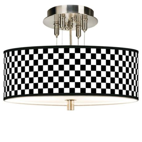 "Checkered Black Giclee 14"" Wide Ceiling Light"