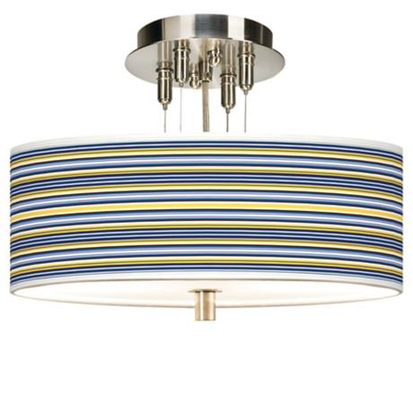 "Charleston Stripes Giclee 14"" Wide Ceiling Light"