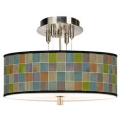 "Pixel City Giclee Brushed Steel 14"" Wide Ceiling Light"