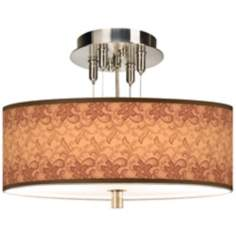 "Sepia Lace Giclee 14"" Wide Ceiling Light"