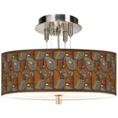 "Stacy Garcia Theatric Vine Peacock 14"" Wide Ceiling Light"
