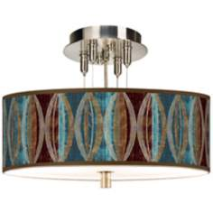 "Stacy Garcia Pearl Leaf Peacock 14"" Wide Ceiling Light"