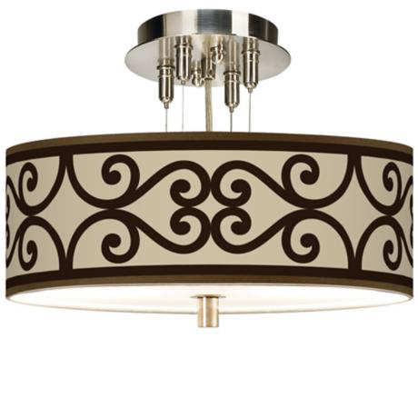 "Cambria Scroll Giclee 14"" Wide Ceiling Light"