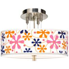 "Retro Pink Giclee 14"" Wide Ceiling Light"