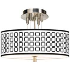 "Open Grid Giclee 14"" Wide Ceiling Light"