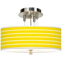 "Vivid Yellow Stripes Giclee 14"" Wide Ceiling Light"