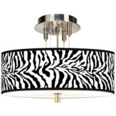 "Safari Zebra Giclee 14"" Wide Ceiling Light"