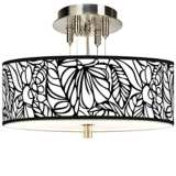 "Jungle Moon Giclee Brushed Steel 14"" Wide Ceiling Light"