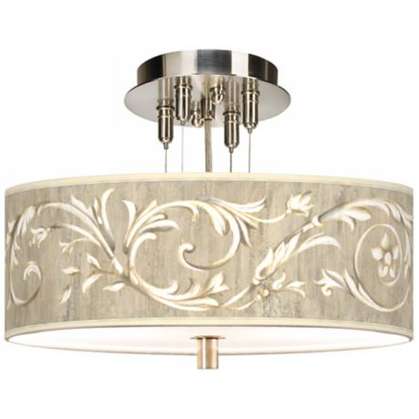 "Brushed Steel Laurel Court 14"" Semi-Flushmount Ceiling Light"