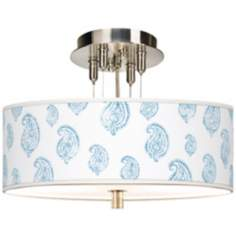 "Paisley Snow Giclee 14"" Wide Semi-Flush Ceiling Light"