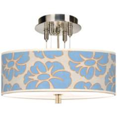 "Floral Blue Silhouette Giclee 14"" Wide  Ceiling Light"