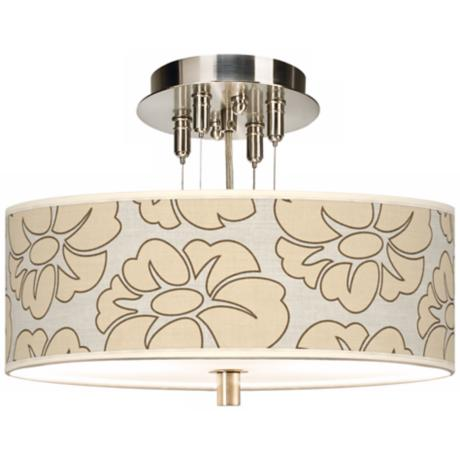 "Floral Silhouette Giclee 14"" Wide Semi-Flush Ceiling Light"