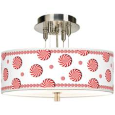 "Peppermint Pinwheels 14"" Wide Giclee Ceiling Light"
