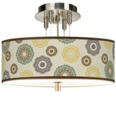 "Ornaments Linen 14"" Wide Giclee Ceiling Light"