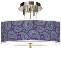 "Purple Paisley Linen 14"" Wide Semi-Flush Ceiling Light"