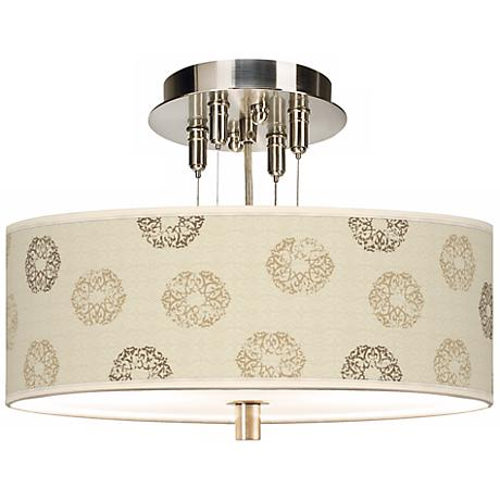 "Sand Medallion Giclee 14"" Wide Semi-Flush Ceiling Light"