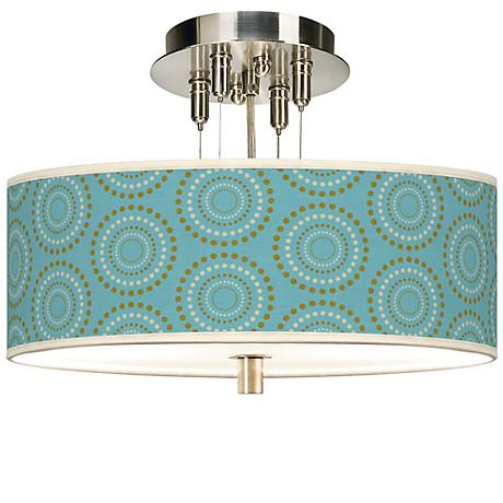 "Blue Calliope Linen Giclee 14"" Wide Semi-Flush Ceiling Light"