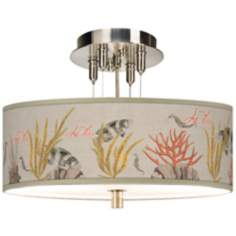 "La Mer Coral Giclee 14"" Wide Semi-Flush Ceiling Light"