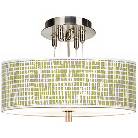 "Ecru Screen Linen Giclee 14"" Wide Semi-Flush Ceiling Light"