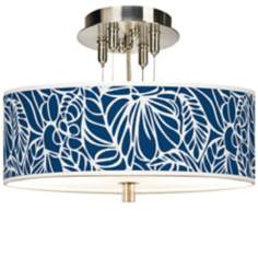 "Jungle Rain Giclee 14"" Wide Semi-Flush Ceiling Light"