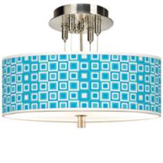 "Blue Boxes Linen Giclee 14"" Wide Semi-Flush Ceiling Light"