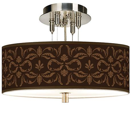 "Mocha Flourish Giclee 14"" Wide Semi-Flush Ceiling Light"