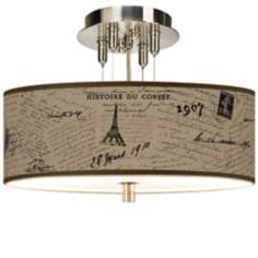 "Letters to Paris Giclee 14"" Wide Semi-Flush Ceiling"