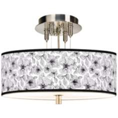 "Stacy Garcia Linear Floral Giclee 14"" Wide Ceiling Light"