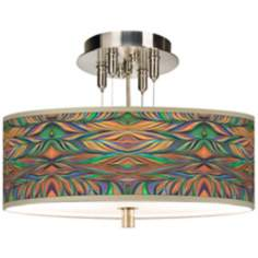 "Exotic Peacock Giclee 14"" Wide Ceiling Light"