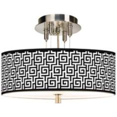 "Greek Key Giclee 14"" Wide Ceiling Light"