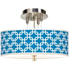 "Blue Lattice Giclee 14"" Wide Ceiling Light"