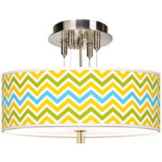 "Citrus Zig Zag Giclee 14"" Wide Ceiling Light"