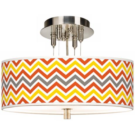 "Flame Zig Zag Giclee 14"" Wide Ceiling Light"