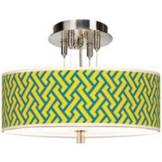 "Yellow Brick Weave Giclee 14"" Wide Ceiling Light"