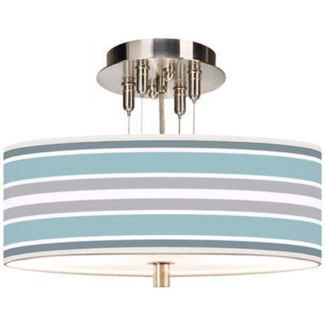 "Multi Color Stripes Giclee 14"" Wide Ceiling Light"