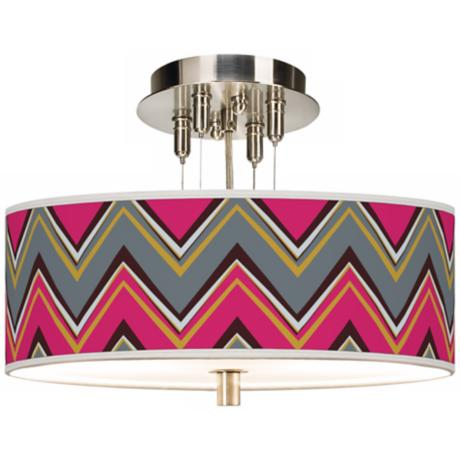 "Stacy Garcia Chevron Pride Pink Giclee 14"" W Ceiling Light"