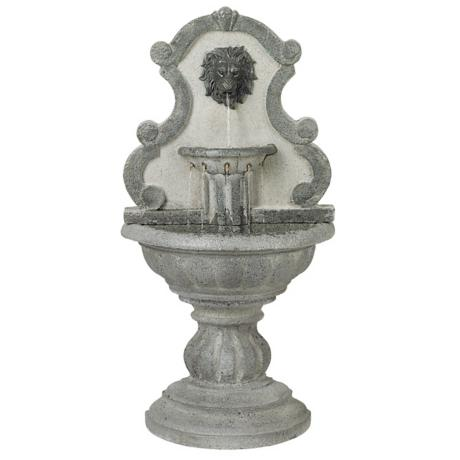 Classic Lions Head Reconstituted Granite Floor Fountain