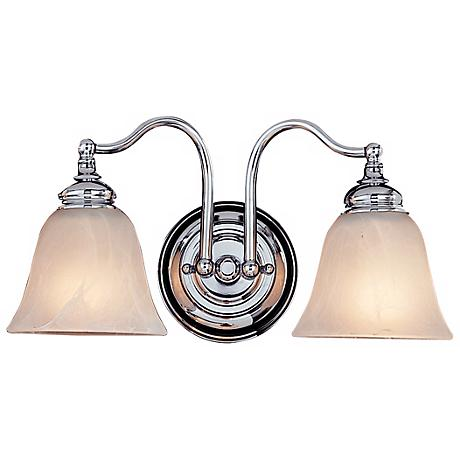 "Feiss Bristol 15""W Alabaster 2-Light Chrome Bath Light"