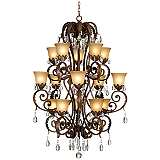 Valentina Iron Leaf Collection Three-Tiered Chandelier