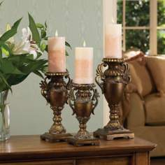 Set of Three Bronze Urn Candle Holders