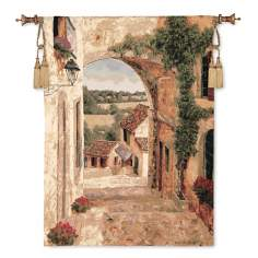 "Going Down to the Village 46"" Long Wall Art Tapestry"