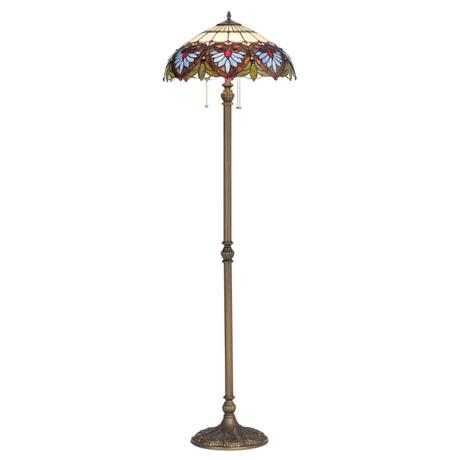 Heart Motif Patina Bronze Tiffany-Style Floor Lamp