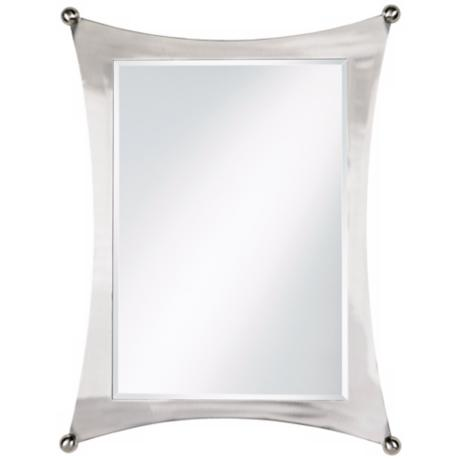 "Jordon Brushed Nickel Finish Metal 32"" High Wall Mirror"