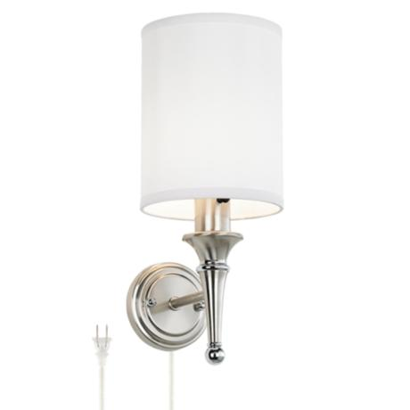 Contemporary Brushed Nickel Finish Plug-in Sconce