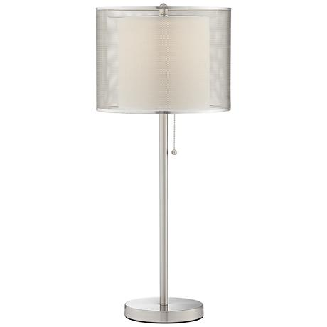 Brushed Steel Metal Mesh Table Lamp