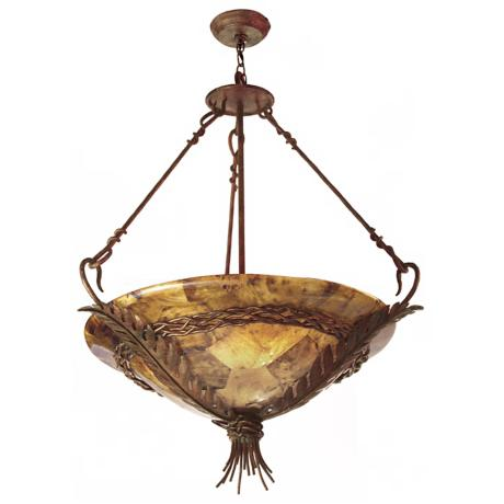 Bari Collection Tortoise Shell Finish 5-Light Chandelier