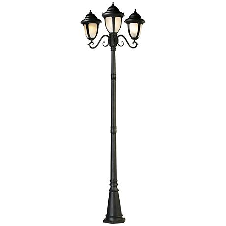 "Casa Sorrento™ Black Finish 90 1/2"" High 3-Light Post Light"