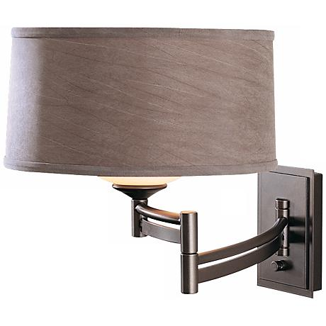 Dark Smoke Gray Shade Swing Arm Wall Lamp