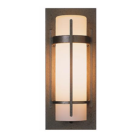 "Hubbardton Forge Banded 16"" High Outdoor Wall Light"
